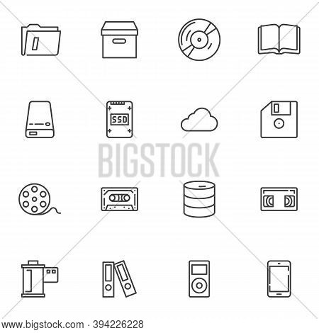 Storage Data Line Icons Set, Outline Vector Symbol Collection, Linear Style Pictogram Pack. Signs, L