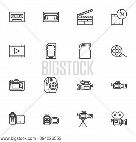 Video And Photo Line Icons Set, Outline Vector Symbol Collection, Linear Style Pictogram Pack. Signs