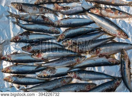 A Close Up Of Fresh Grilled Sardines