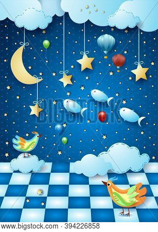 Surreal Night With Moon, Room, Balloons, Birds And Flying Fishes. Vector Illustration Eps10