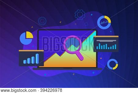Seo Digital Marketing Illustration. Internet Online Website Optimization And Digital Business Revenu
