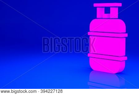 Pink Propane Gas Tank Icon Isolated On Blue Background. Flammable Gas Tank Icon. Minimalism Concept.