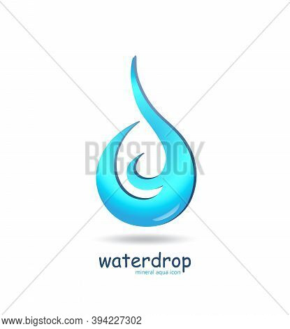 Blue Water Drop Logo With Shadow. Ecology Wave Concept Clean Water. Aqua Droplet Logotype Idea Vecto