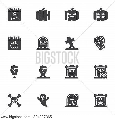 Happy Halloween Vector Icons Set, Modern Solid Symbol Collection, Filled Style Pictogram Pack. Signs