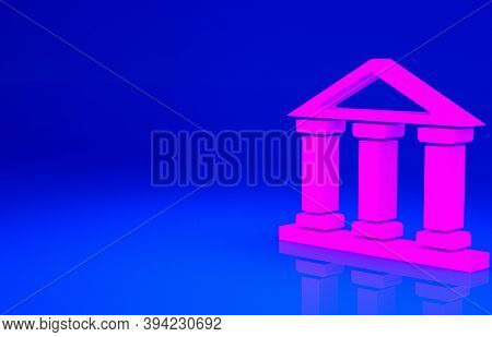 Pink Courthouse Building Icon Isolated On Blue Background. Building Bank Or Museum. Minimalism Conce
