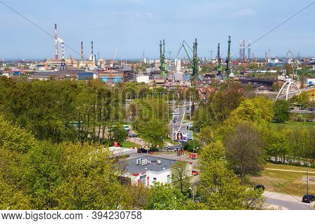 Gdansk, Poland - May 14, 2017: Aerial View Of The Industrial Part Of Gdansk Near Stocznia Gdanska (f