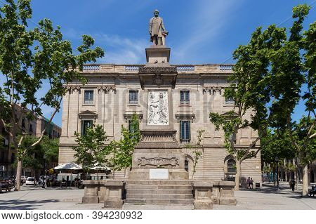 Barcelona, Spain - May 15, 2017: Statue Of The Antonio Lopez (known As El Negro Domingo). The Monume