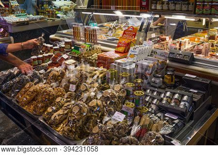 Barcelona, Spain - May 16, 2017: Sale Of The Dry Ceps And Other Food Products On The Famous La Boque