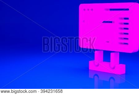 Pink Ticket Office To Buy Tickets For Train Or Plane Icon Isolated On Blue Background. Buying Ticket