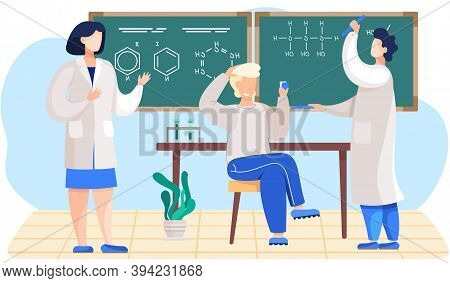 Chemistry Lesson In The Classroom. Male Scientist Explains Formulas On A Blackboard. The Guy Sitting