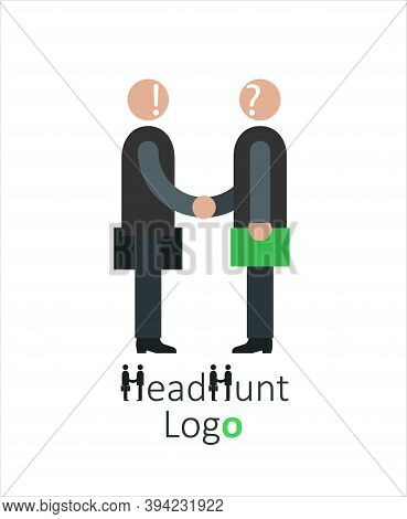 Logo For Headhunting Company, Job Search, Job Interview, Employee Search Symbol Concept, Headhunting