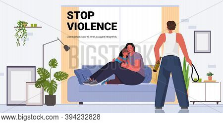 Drunk Angry Husband Punching And Hitting Wife With Child Stop Domestic Violence Aggression Concept L