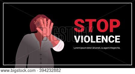 Scared Terrified Woman With Bruises On Face Stop Violence And Aggression Concept Portrait Horizontal