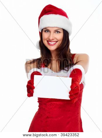 Beautiful Santa helper christmas girl with card isolated on white background.