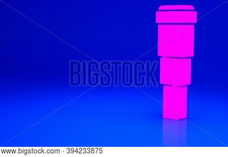 Pink Spyglass Telescope Lens Icon Isolated On Blue Background. Sailor Spyglass. Minimalism Concept.