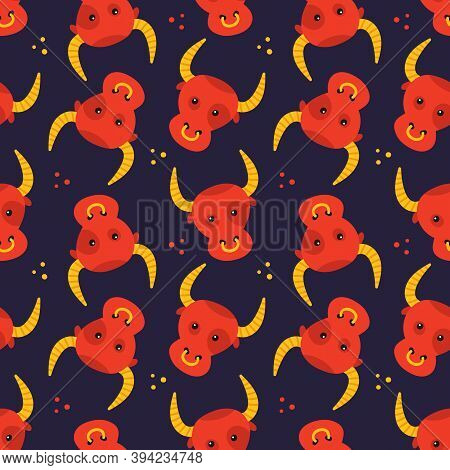 Taurus Zodiac Sign Colorful Cartoon Style Vector Seamless Pattern Background.