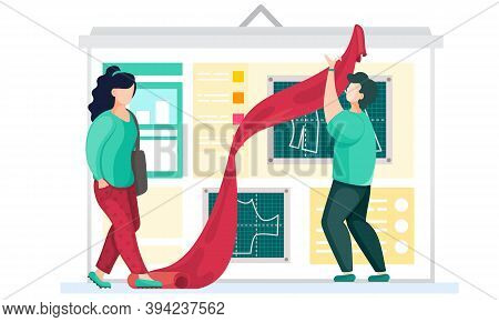 A Professional Designer Explains To Seamstress The Principles Of Making Clothes. Man Holds A Piece O