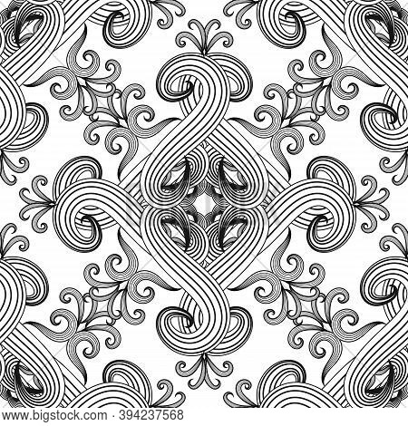 Line Art Tracery Black And White Floral Seamless Pattern. Vector Monochrome Abstract Background. Eth