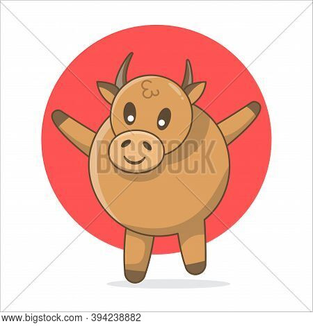 Ox Cute Illustration, Cute Animal Ox Illustration. Mascot Ox For Chinese New Year 2021 The Year Of O