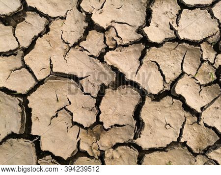 Dry Barren Lifeless Soil During Summer Heat, Soil Erosion Due To Global Warming, Pattern Of Cracks I