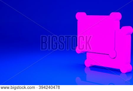 Pink Rectangular Pillow Icon Isolated On Blue Background. Cushion Sign. Minimalism Concept. 3d Illus