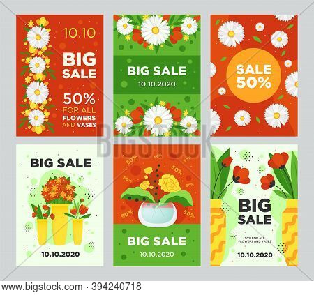 Big Sale Flyers Design With Flowers. Vivid Graphic Elements With Text For Florist Stores And Shops.