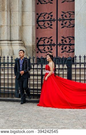 Chinese Wedding Couple At St. Michael's Cathedral In Qingdao, China