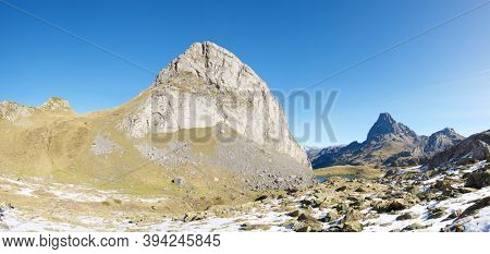 Caster Peak and Midi Dossau Peak in Ossau Valley, Pyrenees National Park, Pyrenees in France.
