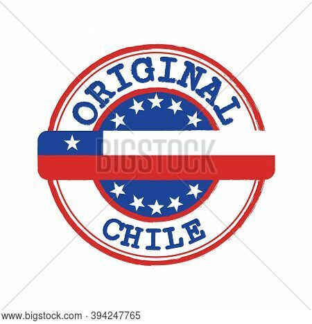 Vector Stamp Of Original Logo With Text Chile And Tying In The Middle With Nation Flag. Grunge Rubbe