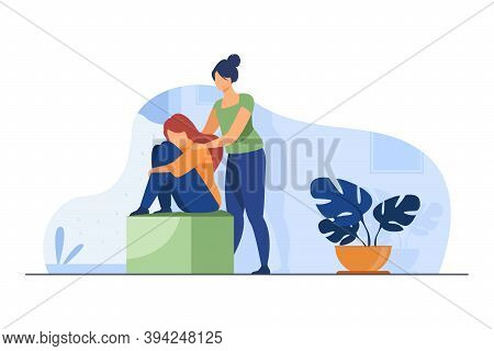 Woman Comforting Depressed Friend. Giving Support To Upset Mate Flat Vector Illustration. Friendship
