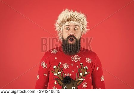 Weather Forecast. Winter Fashion. Cold Days. Barbershop Services. Man With Long Beard And Mustache.