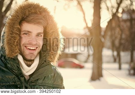 Winter Favorable Weather Conditions. Sunny Winter Day. Winter Menswear. Winter Outfit. Hipster Fashi