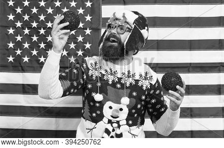 American Tradition. My Country And Tradition. Decor And Accessory. Man Wear Knitted Sweater. Santa C