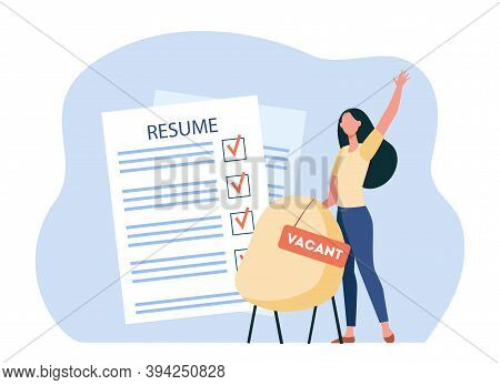Female Employee Looking For Vacant Position. Resume, Lady, Work Flat Vector Illustration. Occupation