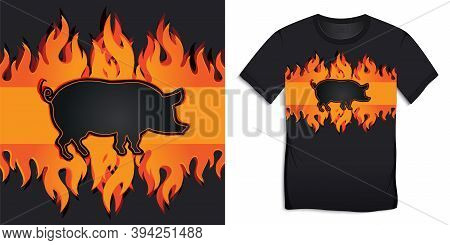 T-shirt Graphic Design Black Pig Of With Burning Flames And Bbq Pork Grill Vector