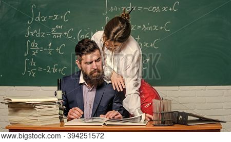 Sexual Temptation At Workplace. Teacher And Student Flirting. Sexual Provocation. Provoke Sexual Des