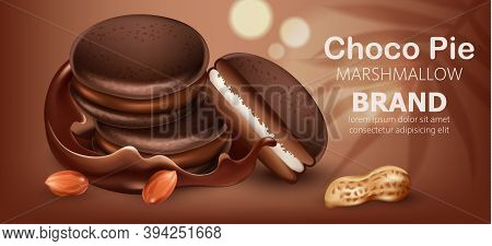 Three Stacked Choco Pies With Marshmallow Surrounded By Flowing Chocolate And Peanuts. Realistic. 3d