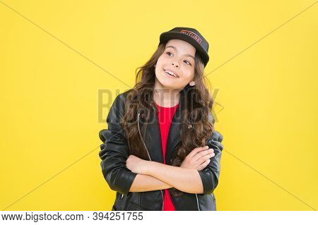 Fashion As Unique As You Are. Fashion Look Of Little Child. Small Kid Keep Arms Crossed Yellow Backg