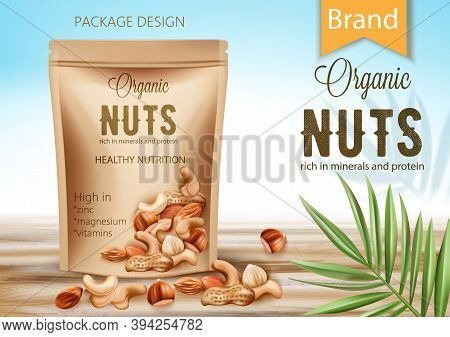Package With Organic Product Surrounded By Palm Leaf And Nuts. Rich In Minerals And Protein. Healthy