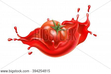 Composition Of A Tomato Submerged In Flowing Red Liquid. Realistic 3d