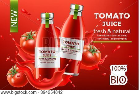 Composition, Two Bottles With Fresh And Natural Bio Juice Submerged In Flowing Liquid And Tomatoes.