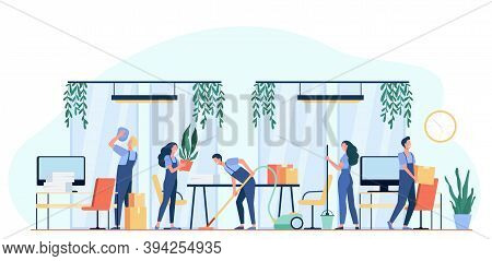Team Of Professional Janitors Cleaning Office. Vector Illustration For Cleaners Job, Cleaning Servic