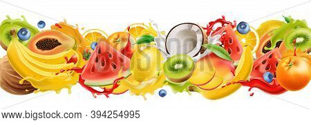 Composition Of Tropical Fruits Splashing In Flowing Juice, Watermelon, Orange, Coconut, Kiwi, Mango,