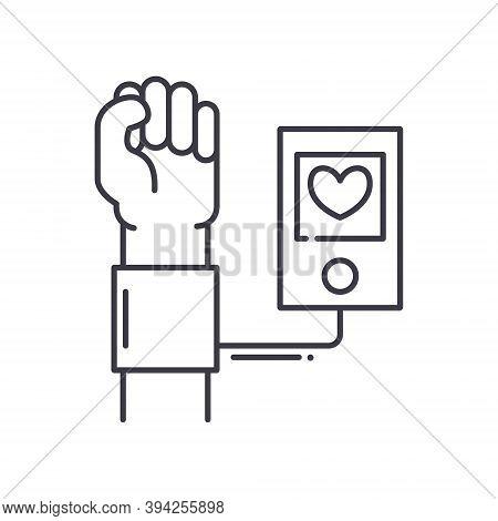 Arterial Pressure Icon, Linear Isolated Illustration, Thin Line Vector, Web Design Sign, Outline Con