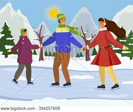 Family Playing Ice Skating On Rink Outdoor In Sunny Day During The Winter Season Against The Backdro