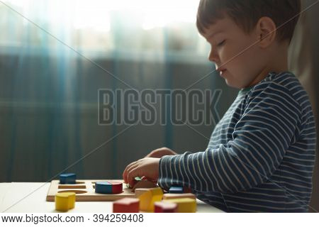 Educational Toys, Cognitive Skills, Montessori Activity. Montessori Kid Learning About Color, Shape,