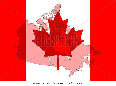 stylized Canada map with flag on background