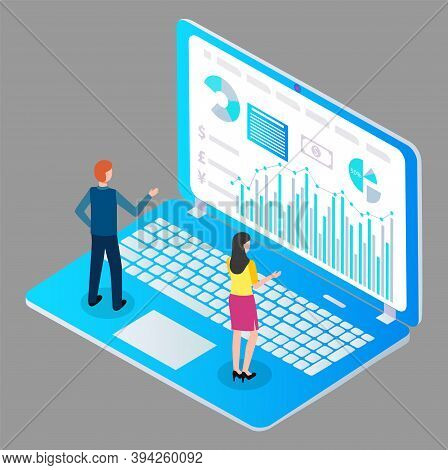 Isometric Image Man And Woman, Back View, Standing On Huge Cartoon Laptop And Studying Financial Or