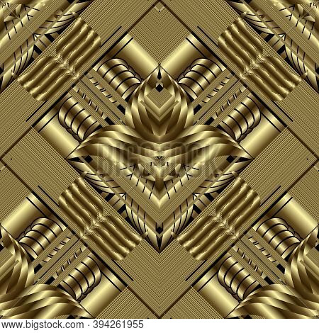 Gold 3d Geometric Seamless Pattern. Ornate Vector Striped Background. Grunge Repeat Floral Gold Back