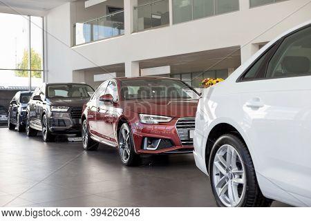 Russia, Izhevsk - September 11, 2019: Audi Showroom. New Prestigious Cars In Dealer Showroom. Volksw